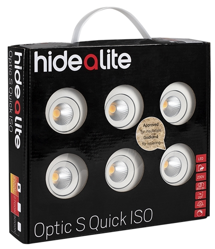 Downlight Optic S Quick ISO 6-pack 3000K - Hide A Lite